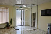 Стеклянные перегородки с маятниковыми дверьми с рисунком, фото 1