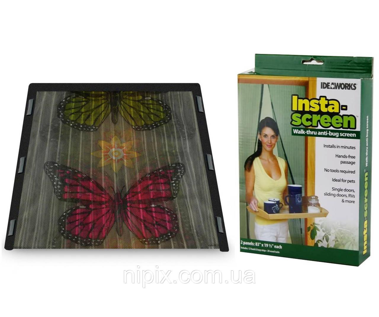 Антимоскитная сетка на двери на магнитах бабочки