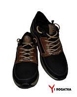 Мужские нубуковые кроссовки SPLINTER, черные с коричневыми вставками, носок и пятка прошитые