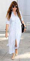 Свободное Платье-рубаха, длинное пляжное льняное! Белый, беж, джинс, синий, черный