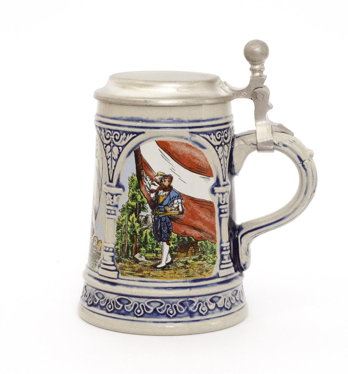 Старый бокал для пива, пивной бокал, керамика, олово, Германия
