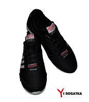 Мужские кожаные кроссовки SPLINTER, черные , три серые полоски