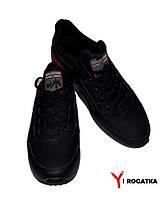 Мужские кожаные кроссовки SPLINTER, черные, серо-красная подошва, серо красная резинка на языке