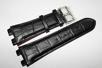 Кожаный ремешок ORIENT для часов- черного цвета с натуральной кожи выделкой под аллигатора