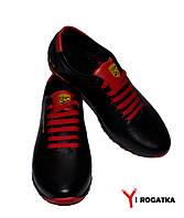 Мужские кожаные кроссовки PORSCHE, черные, на языке и на пятке красные вставки
