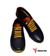 Мужские кожаные кроссовки PORSCHE, синие, на языке  и на пятке красные вставки