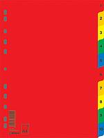 Індекс-розділювач цифровий А4, 10 поз., кольоровий