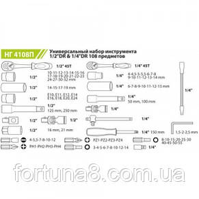 """Набор инструмента 108 предметов 1/2""""&1/4"""" DR Alloid НГ-4108П-12, фото 2"""