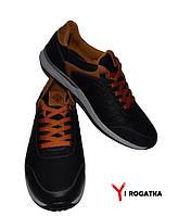 Мужские кожаные кроссовки, черные с рыжими вставками