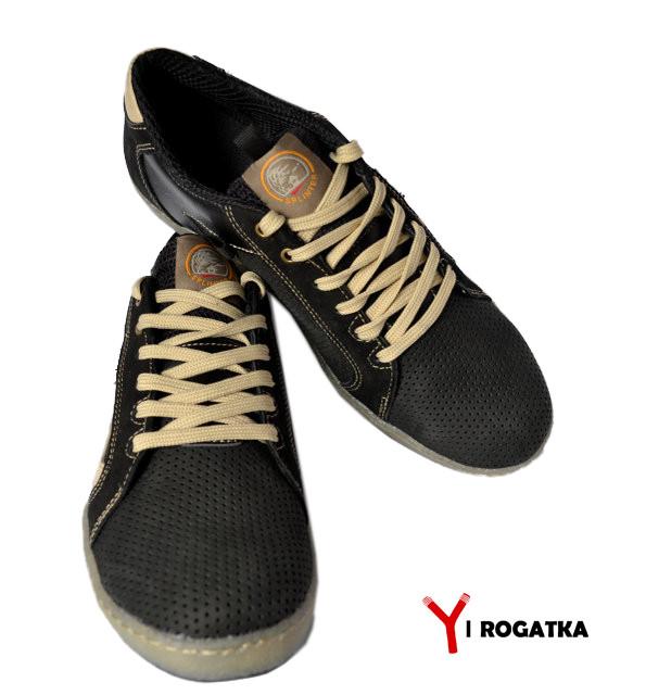 a52a9caef Мужские кожаные кеды SPLINTER, черные, перфорация со вставками бежевого  цвета 41