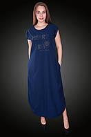 Длинное платье бенгалин. Цвет темно-синий. Размер 56, 58. Код 581. Хмельницкий, фото 1
