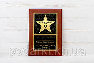 Наградная именная звезда на металле Воспитатель года 2017