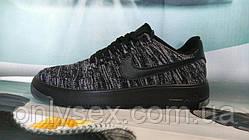 Мужские кроссовки NIKE Air Force 1 Flyknit серые с черным