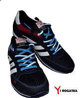 Мужские комбинированные кроссовки SPLINTER кожа+сетка+нубук, синие с белыми вставками и красными вставками