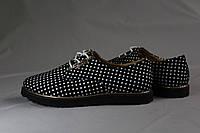 Туфли мокасины на шнурках для девочки. Натуральная кожа 0130