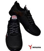 Мужские кожаные кроссовки SPLINTER, черные, перфорация