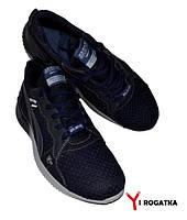 Мужские кожаные кроссовки SPLINTER, черные, сетка синяя