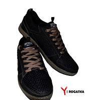 Мужские кроссовки SPLINTER, черные, сетка+кожа, прошитые