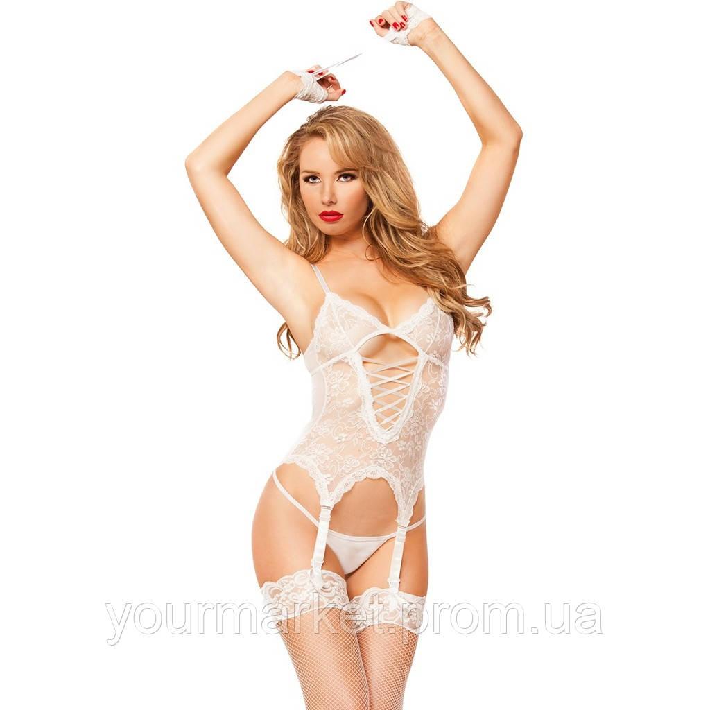 Эротический комплект белья c наручниками White Queen