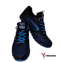 Мужские кожаные кроссовки  SPLINTER, черные с черно-синей сеткой