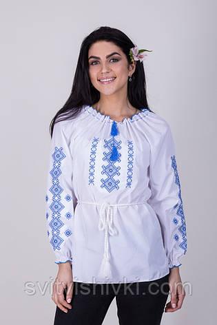 Женская вышитая блуза крестиком на белом хлопке с красным узором, фото 2