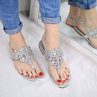 Босоножки женские Stone серебро 3297, сандалии женские