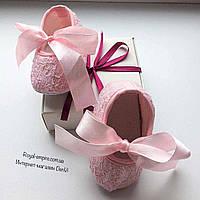 """Красивые пинетки """"Ажур"""", розовые с нарядным бантиком."""