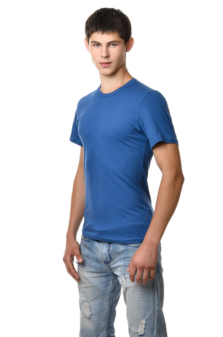 Якісна чоловіча футболка великих розмірів з щільного трикотажу синя