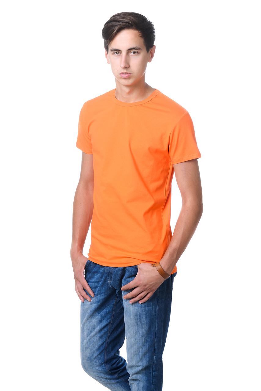 Стильна чоловіча футболка приталеного крою з круглим вирізом і короткими рукавами помаранчева