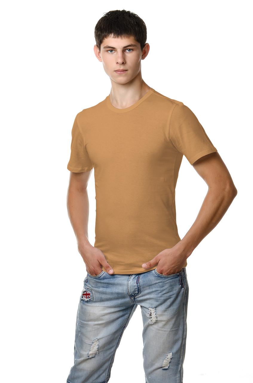Якісна чоловіча футболка великих розмірів з щільного трикотажу кольору какао