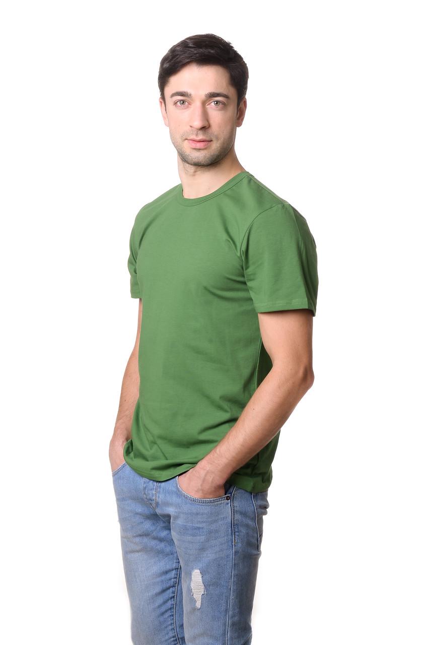 Стильна чоловіча футболка приталеного крою з круглим вирізом і короткими рукавами оливкова