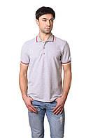 Модная мужская футболка из качественного материала с воротником поло меланж