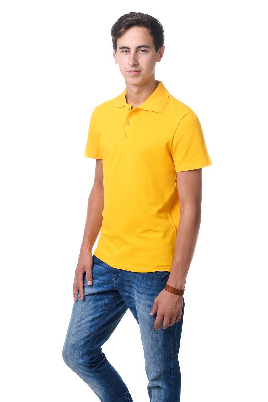 Модная мужская футболка из качественного материала с воротником поло желтая