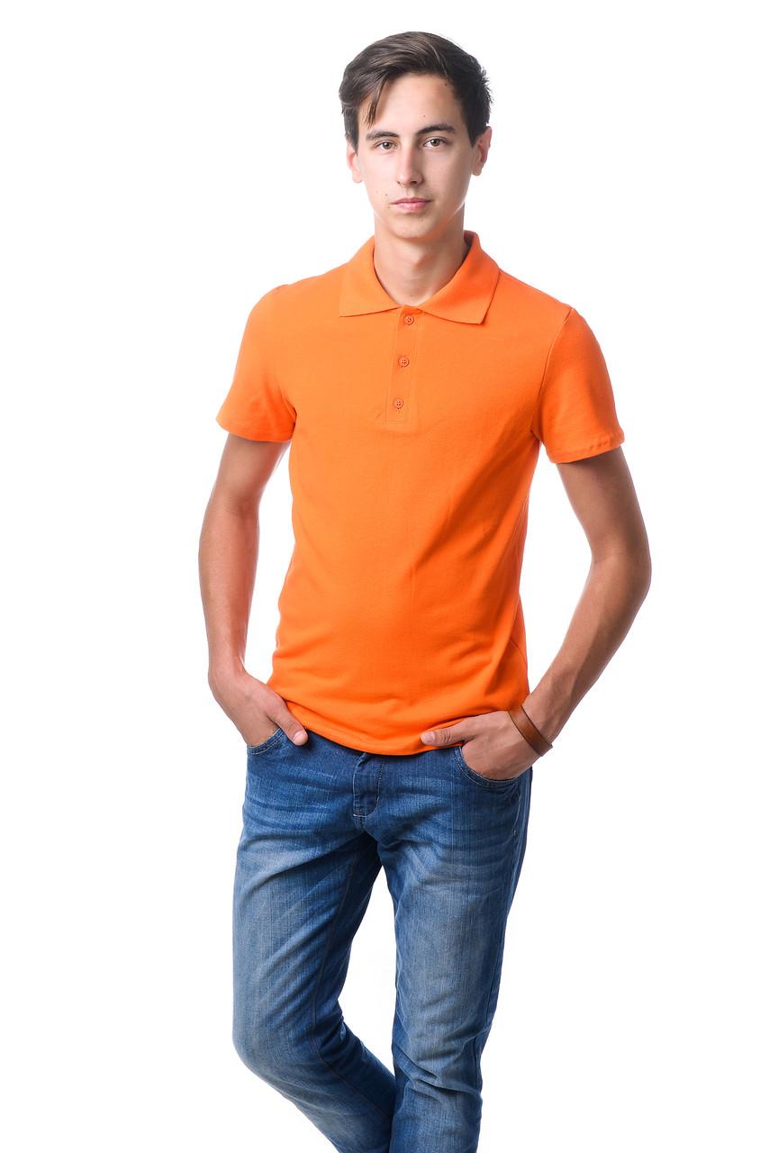 Модна чоловіча футболка з якісного матеріалу з коміром поло помаранчева