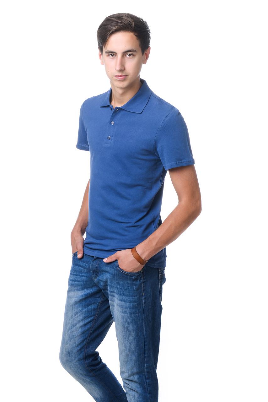 Модная мужская футболка из качественного материала с воротником поло цвета джинс