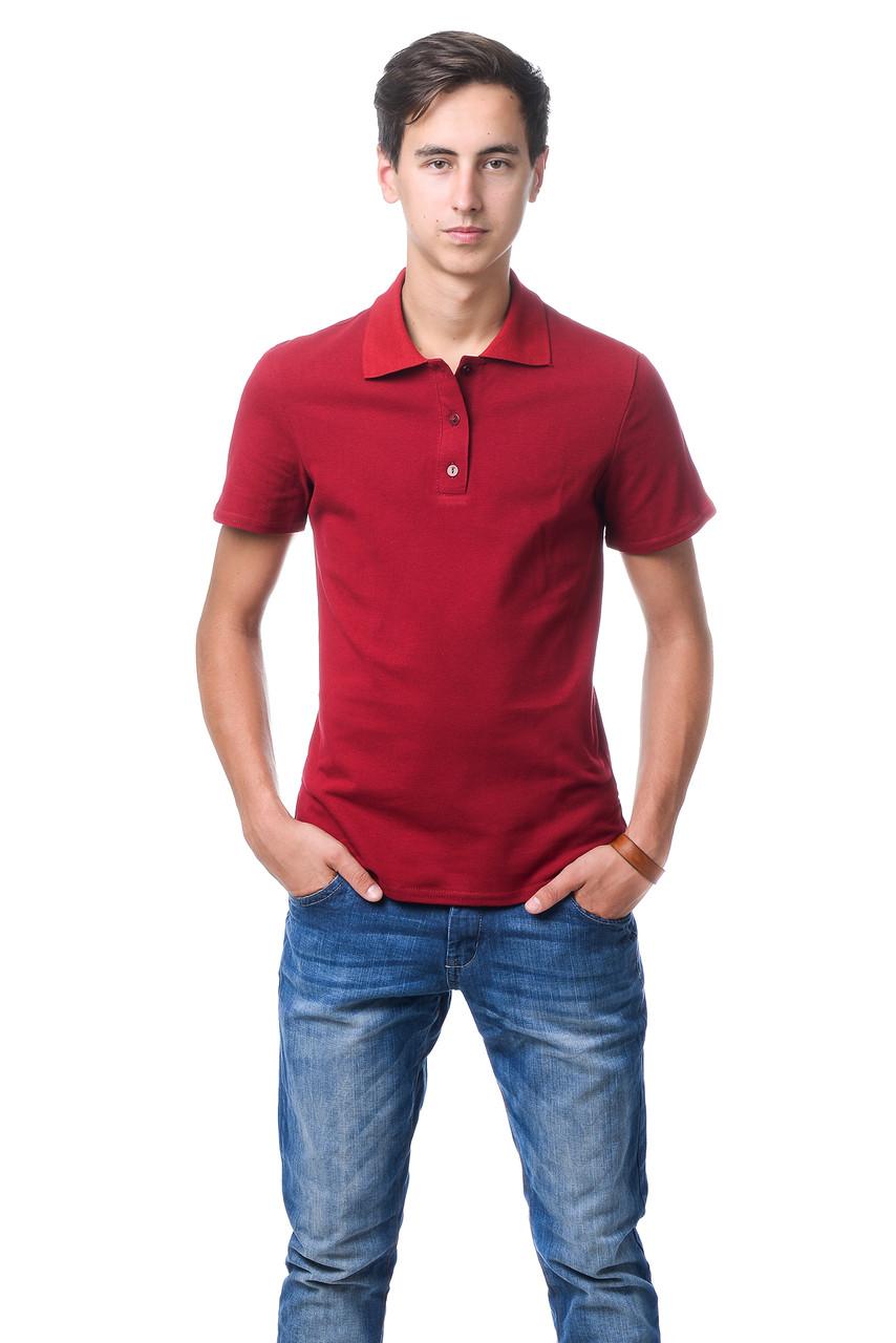 Модная мужская футболка из качественного материала с воротником поло бордовая