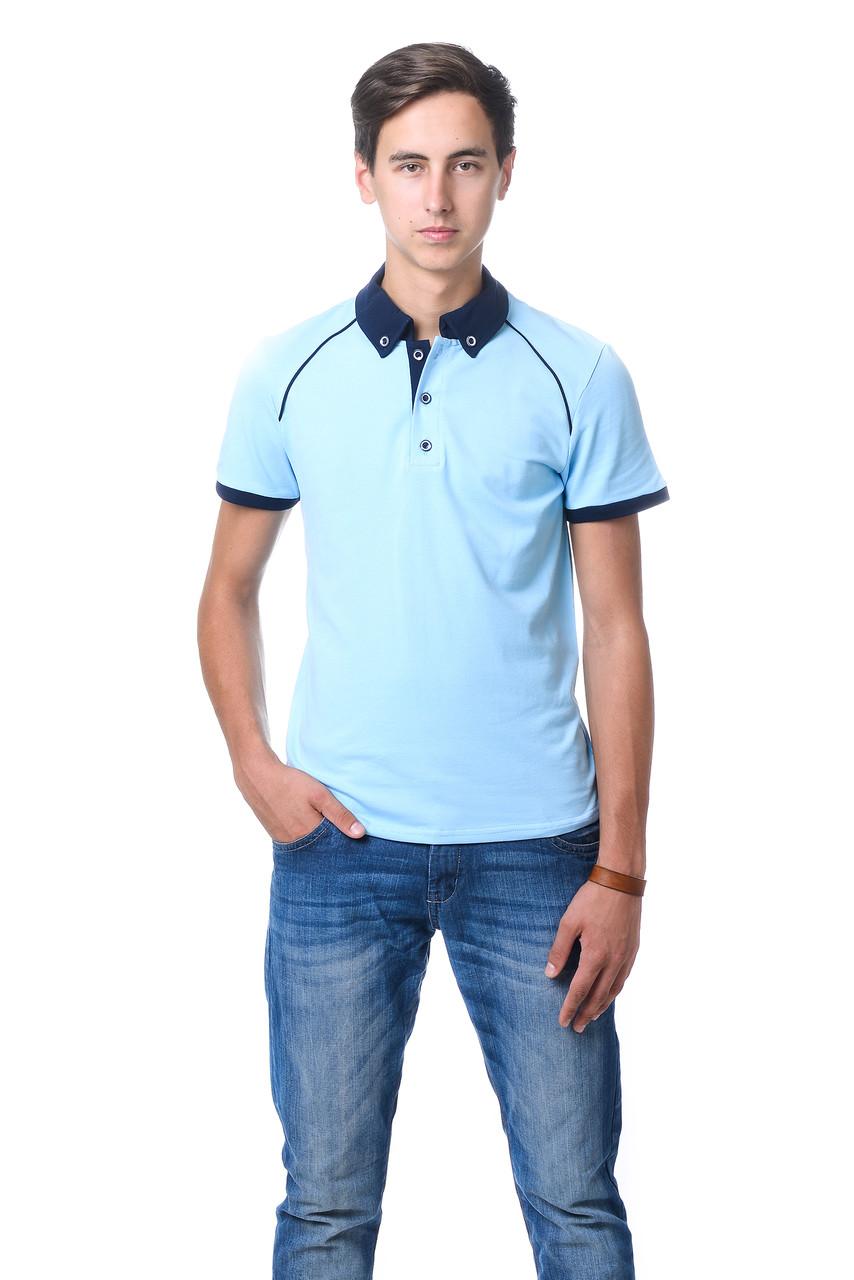 Приваблива чоловіча футболка з якісного матеріалу з контрастним коміром поло блакитна