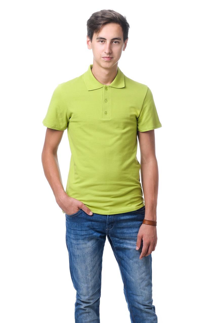 Модная мужская футболка из качественного материала с воротником поло оливковая