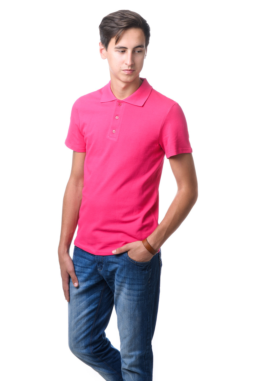 Модна чоловіча футболка з якісного матеріалу з коміром поло малинова