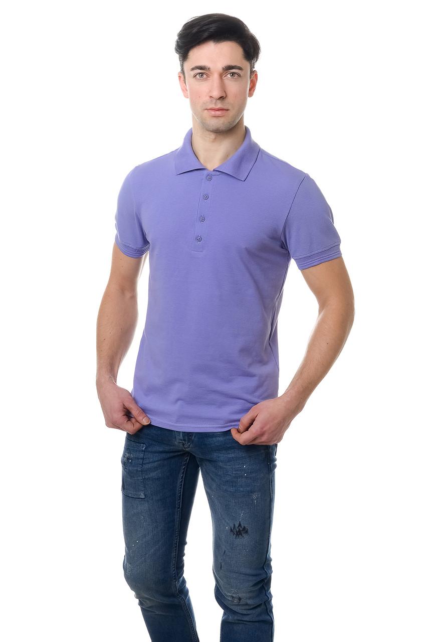 Модная мужская футболка из качественного материала с воротником поло сиреневая