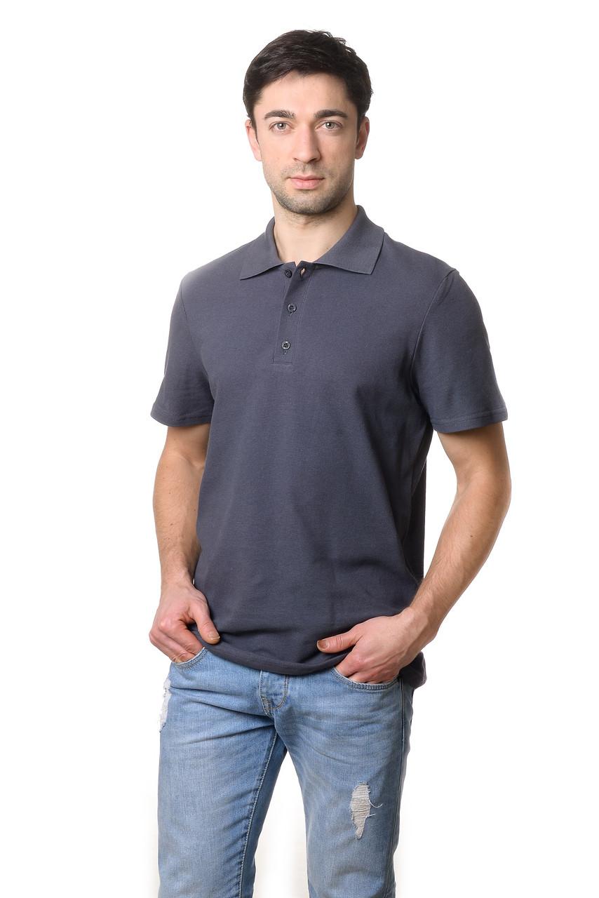 Модна чоловіча футболка з якісного матеріалу з коміром поло темно-сіра