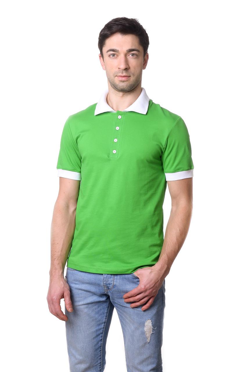 Привлекательная мужская футболка из качественного материала с контрастным воротником поло салатовая