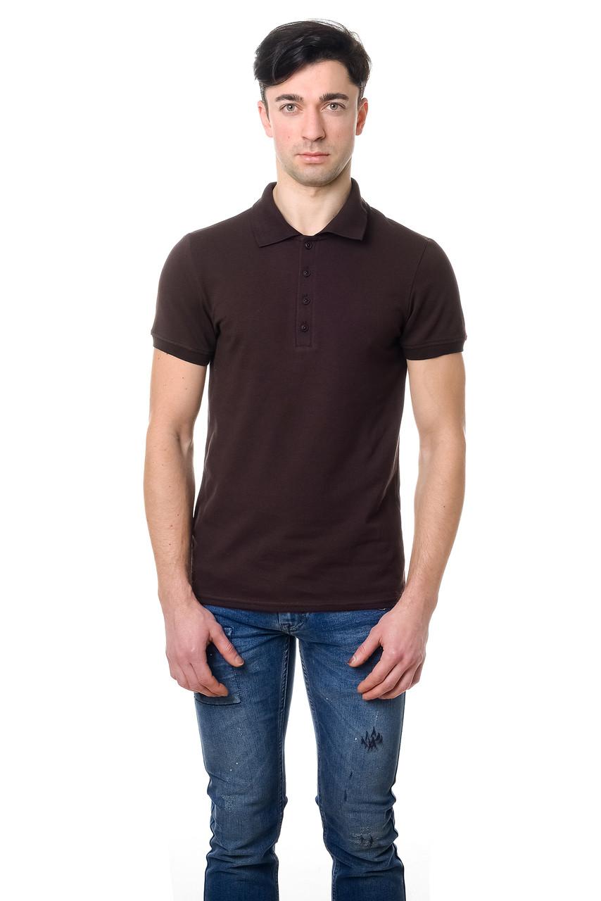 Модная мужская футболка из качественного материала с воротником поло коричневая