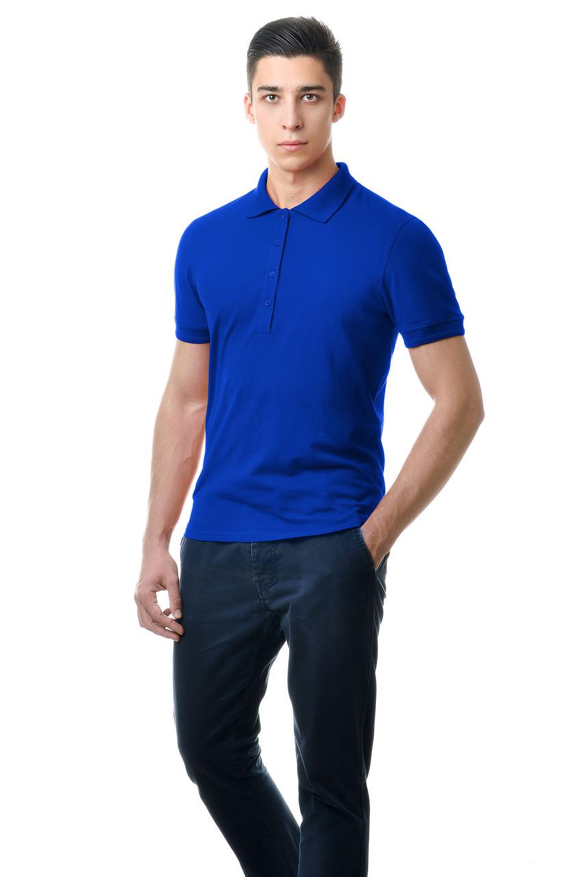 Модная мужская футболка из качественного материала с воротником поло электрик