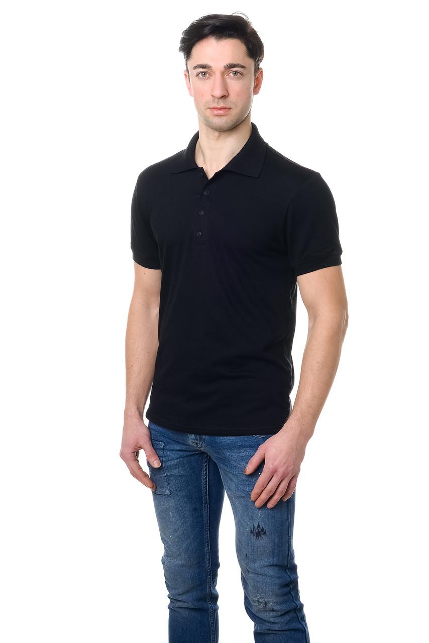 Модная мужская футболка из качественного материала с воротником поло черная