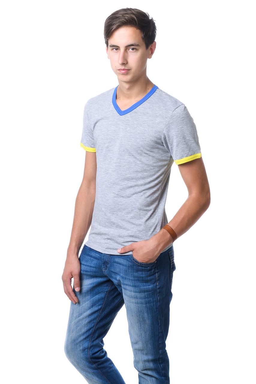 Якісна чоловіча футболка оригінального крою з V-подібним вирізом горловини меланж