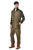 Удобный мужской костюм из качественного флиса из кофты и брюк черный