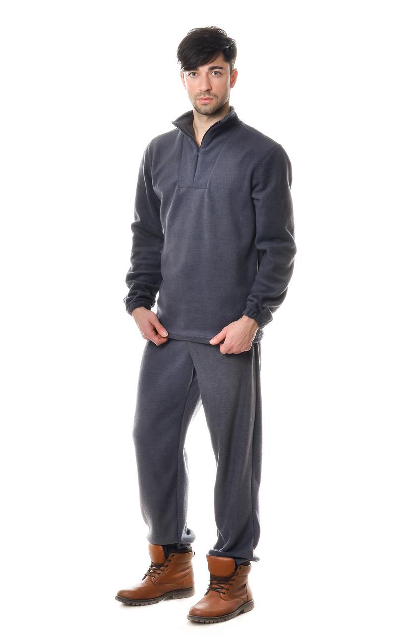 Удобный мужской костюм из качественного флиса из кофты и брюк коричневый