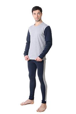 Качественный мужской костюм из кофты и кальсон меланж/индиго