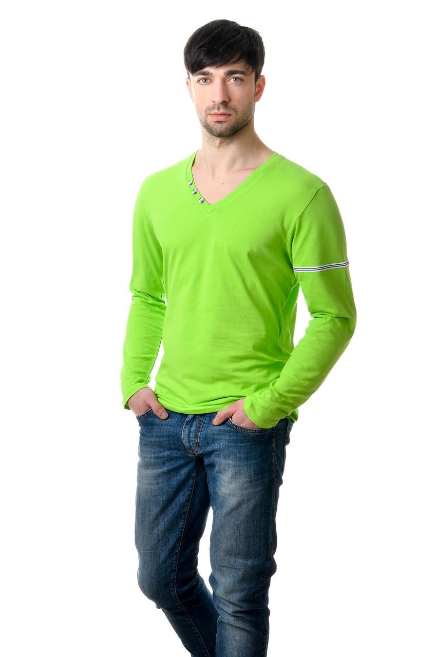 Стильная мужская футболка с длинными рукавами из качественного хлопка салатовая